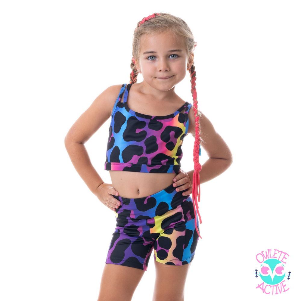 owlete active wear sets of shorts and crops with vibrant rainbow colour pallet and leopard spots