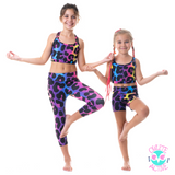 owlete active kids activewear tights pants leggings with tiger spots design rainbow colours