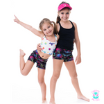 owlete active age appropriate activewear for young girls crop top with vibrant coloured stars for young girls