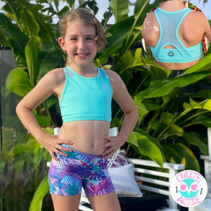 owlete active mint green crop top for girls with confidence and spirit who strive to be awesome and energetic
