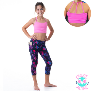 pink crop top high quality fabric midnight rainforest pattern tights with phone sized pocket in a set from owlete active