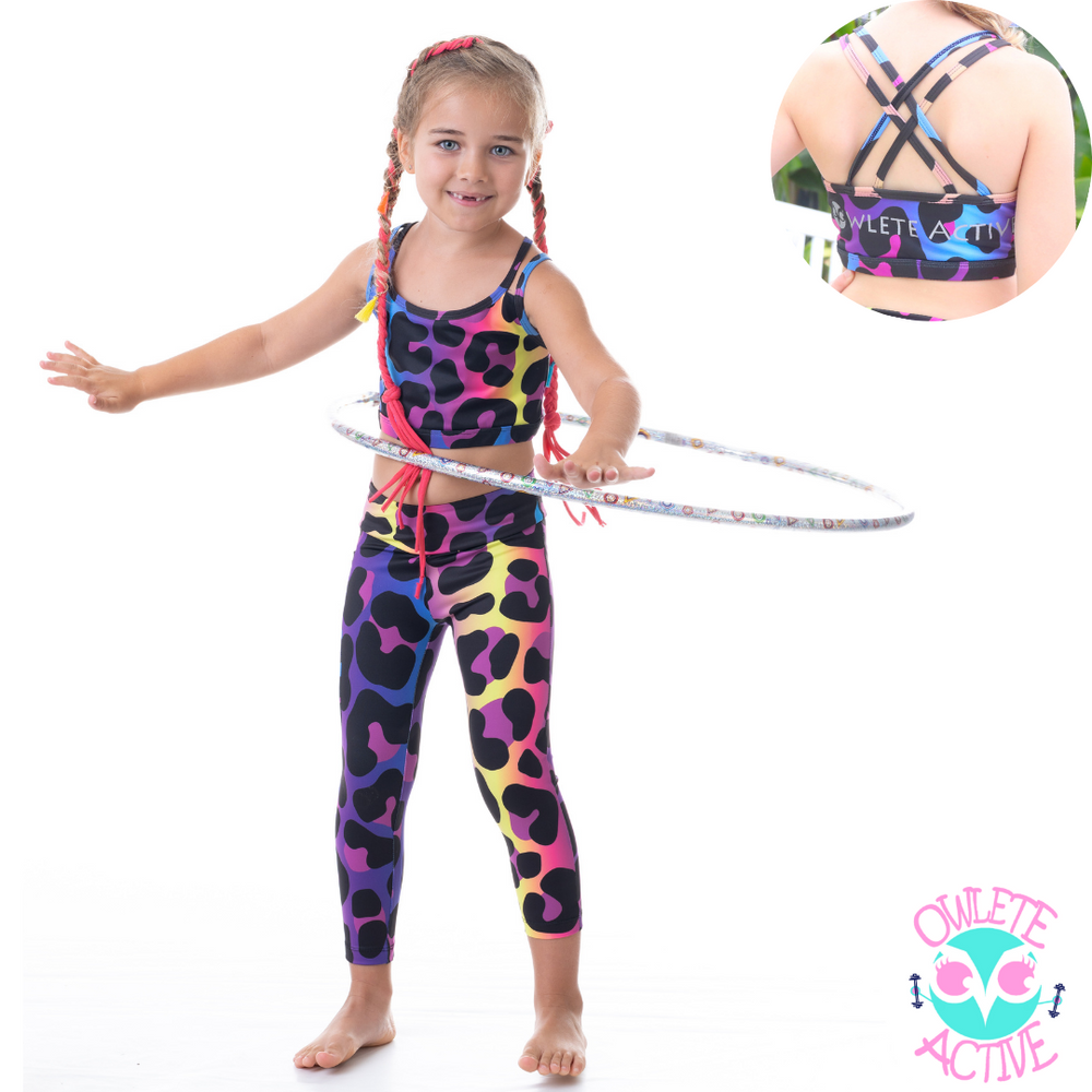 OWLETE active kids activewear squat proof sets for kids gymnastics wear fun leopard spot pattern