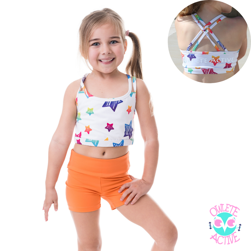 bright electric mango orange basic shorts squat proof fabrics and age appropriate design to motivate an active life