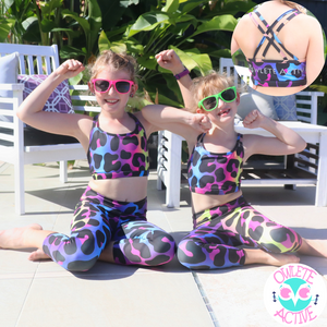 owlete active kool leopard activewear set bright rainbow and black tiger spot pattern