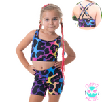 owlete active shorts and crop set with leopard sport rainbow pattern great quality with pockets and fun design