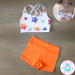 owlete active bright mango orange carrot kids activewear shorts for sport gymnastics dance crossfit bright quality