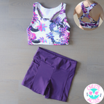 owlete active rainforest purple pink crop in a set with deep purple shorts with pocket