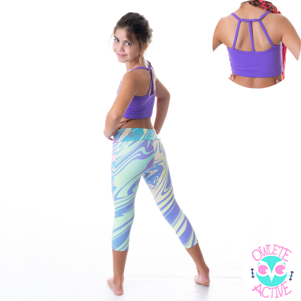 owlete active wild rainbow tights in a set with lollipop purple crop top for girls with age appropriate coverage