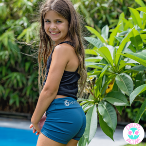 owlete active teal emerald jade green activewear shorts for young girls squat proof good quality age appropriate