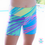 wild rainbow paddlepop tiger strip pattern shorts for young girls with a pocket and age appropriate design beautiful collection of colours