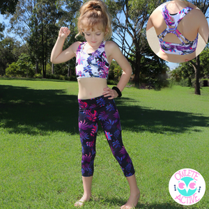 girls activewear sportswear tights and matching crop top set for gymnastics from owlete active