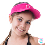 this is a young girl wearing a sun safe visor