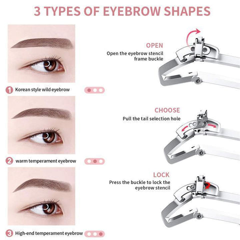 3 In 1 Adjustable Eyebrow Shaping Stencil