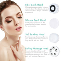 Multi-Brush Head Rechargeable Electric Facial Cleansing Spin Brush | Skincare Beauty | Fresh Dailies