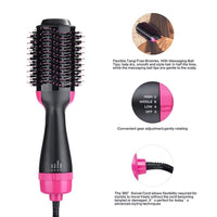 One Step Negative Ions Hot Air Hair Dryer Styler Brush in black colour