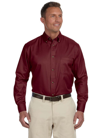 Harriton Men's Easy Blend™ Long-Sleeve Twill Shirt with Stain-Release - M500