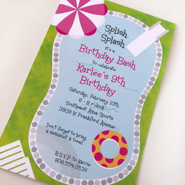 Swim Party Custom Invitations