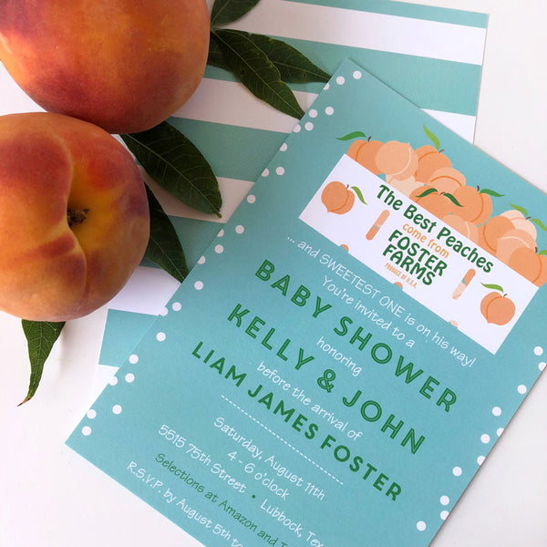 Peachy Keen Baby Shower Invitations