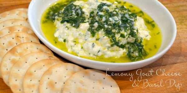 Lemony Goat Cheese & Basil Dip