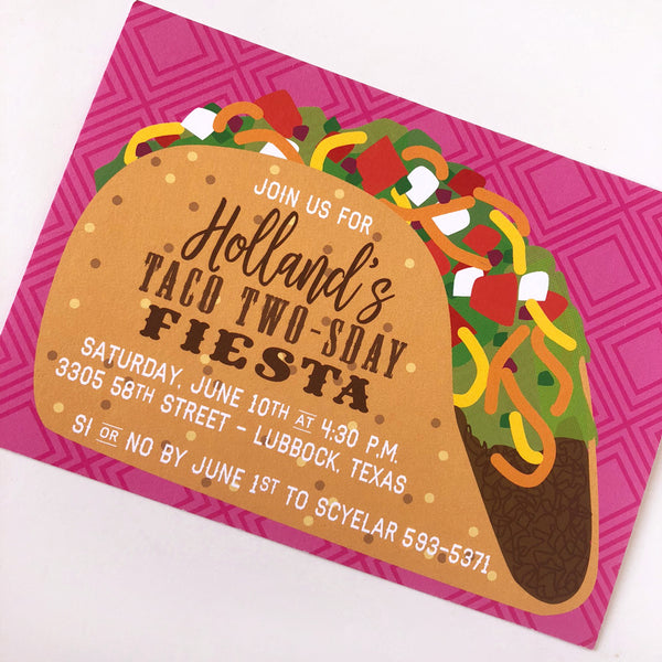 taco two-sday custom invitations on barquegifts.com