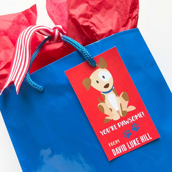 dog gift tag on a bag on barquegifts.com