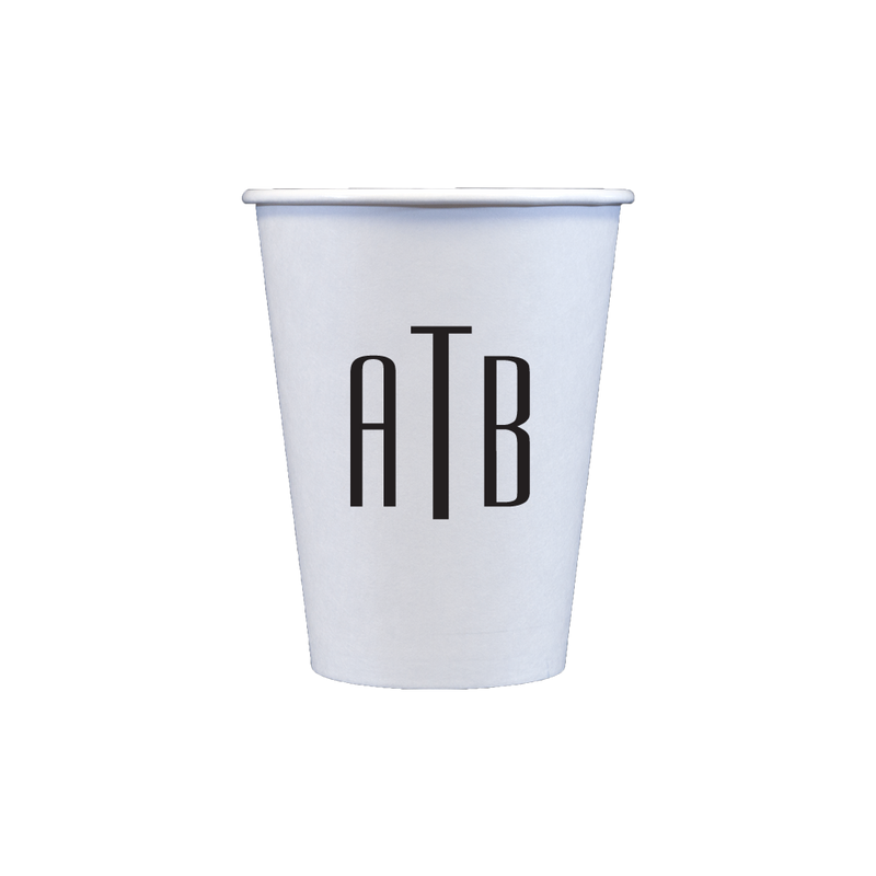 12 oz paper cup with monogram