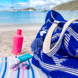 Blue Tribal Beach Tote