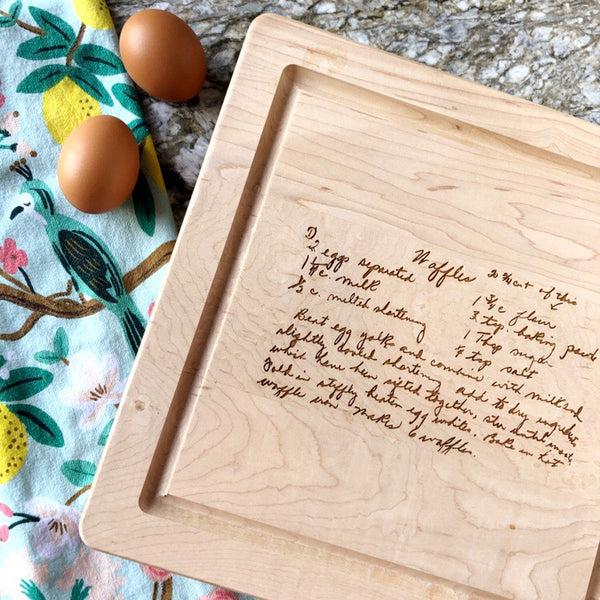 recipe engraved cutting board on barquegifts.com