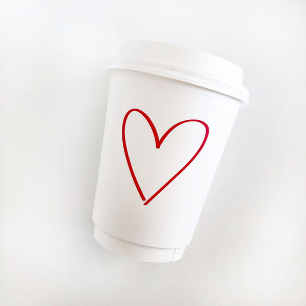 Red Heart Paper Cups + Lids (12 oz)