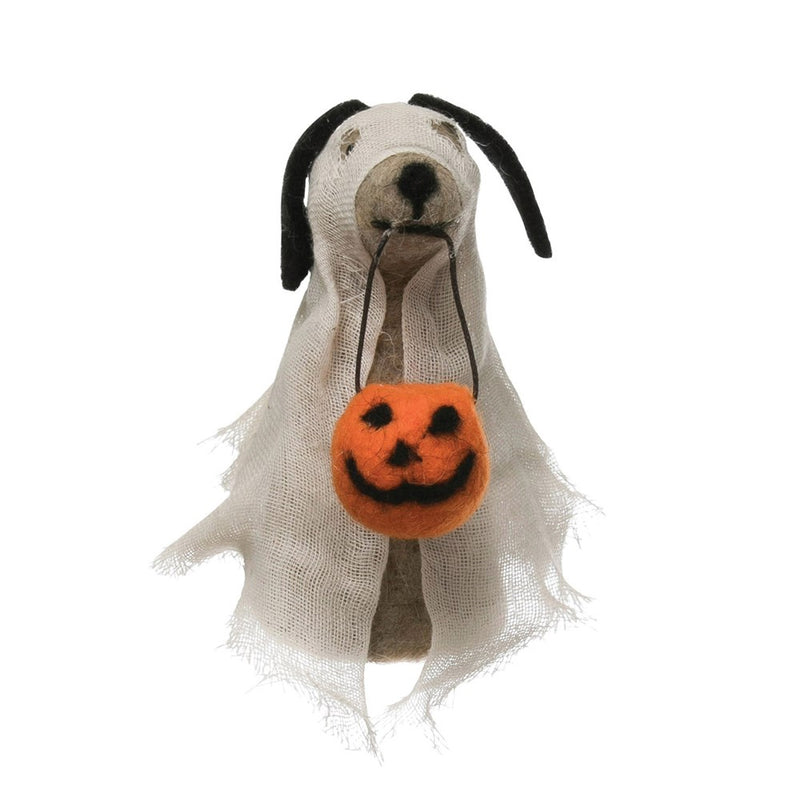 Creative Co-Op Wool Felt Dog in Ghost Costume at barquegifts.com