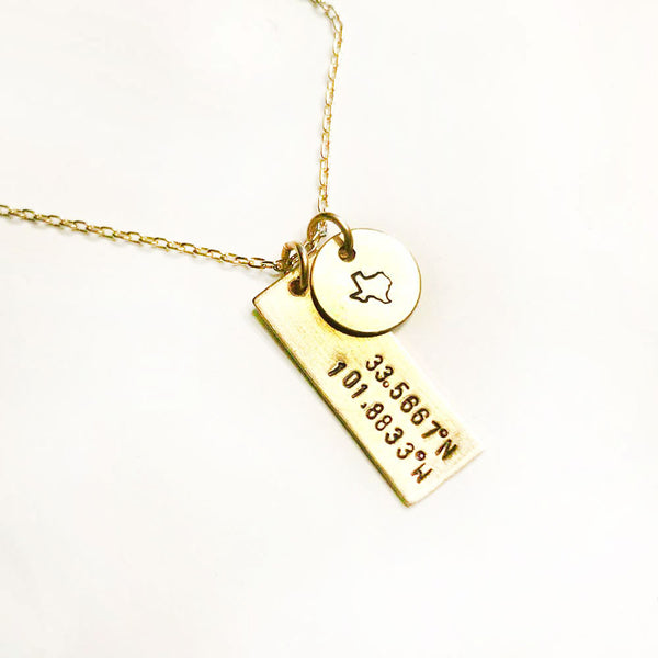 Lubbock, TX Coordinates Brass Necklace (2 charms)