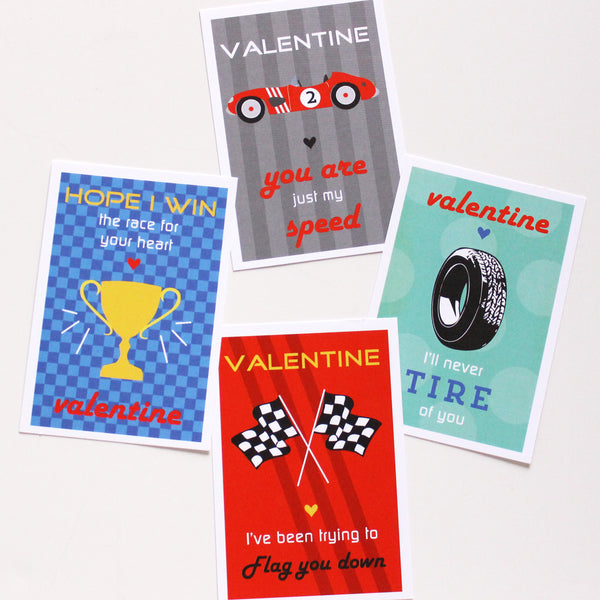 race car punny valentines on barquegifts.com