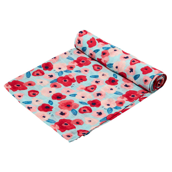 Poppies Swaddle Blanket at barquegifts.com