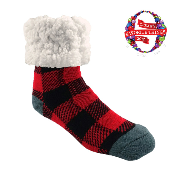 pudus classic lumberjack red slipper socks on barquegifts.com