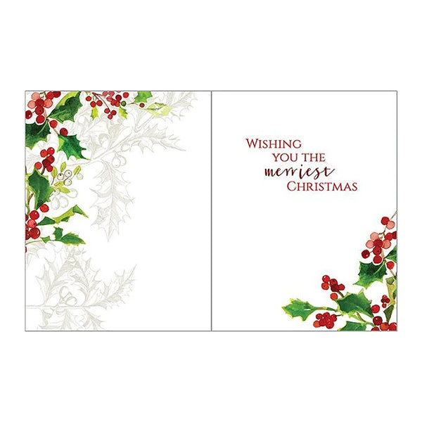 Red Berries and Holly Boxed Christmas Cards  (box of 10)