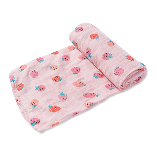 Strawberries Swaddle Blanket at barquegifts.com