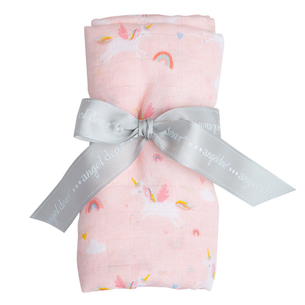 Unicorns Swaddle Blanket at barquegifts.com