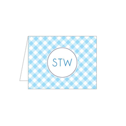 Light Blue Gingham Folded Note
