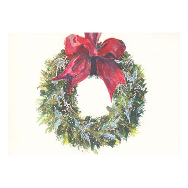 Blue Holly Wreath Boxed Holiday Cards  (box of 10)