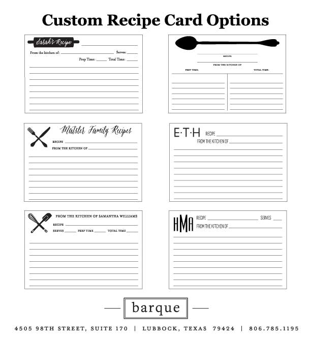 Custom Recipe Cards