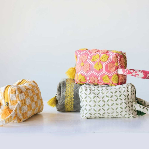 Waffle Zippered Pouch with Tassel