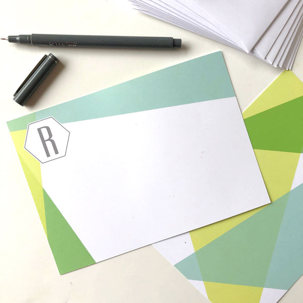 Green Color Block Flat Note