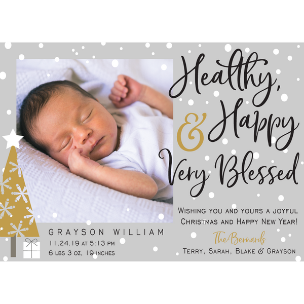 Happy Healthy & Blessed Holiday Photo Card