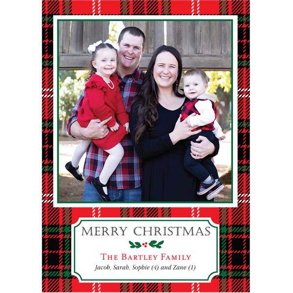Happy Plaid Family Holiday Photo Card