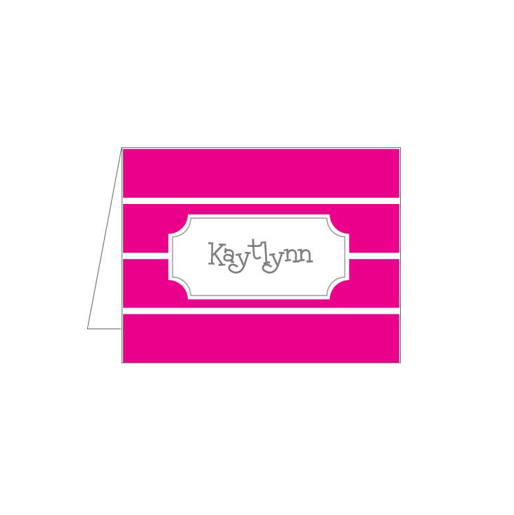 Hot Pink Stripe Folded Note