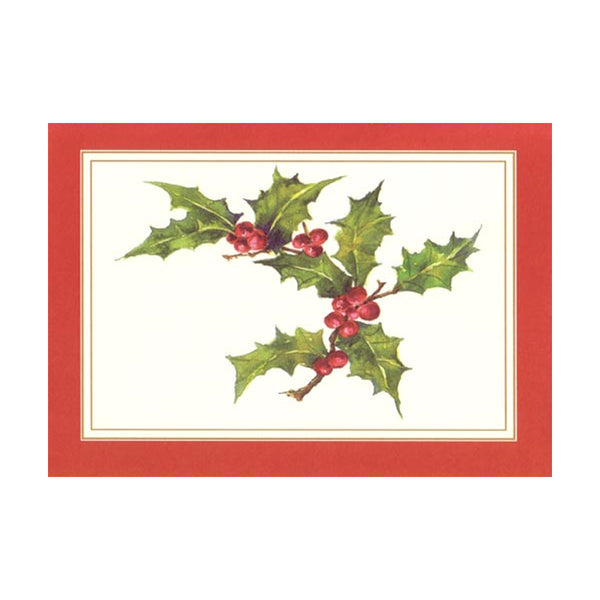 Holly Branch Boxed Holiday Cards  (box of 10)