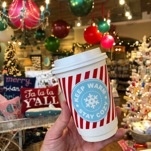 Keep Warm, Stay Cozy Paper Cups + Lids (16 oz)