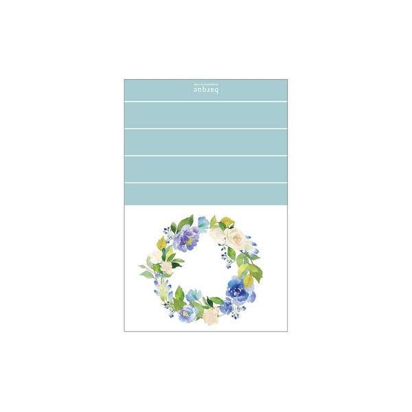 Blue Floral Wreath Folded Note