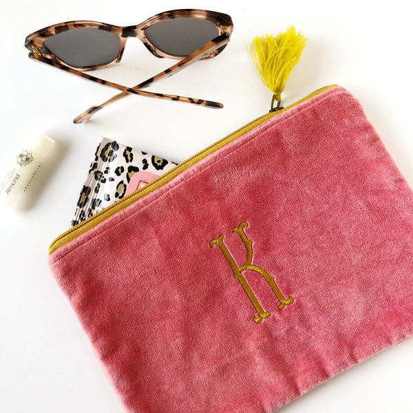 velvet zippered pouch with monogram on barquegifts.com