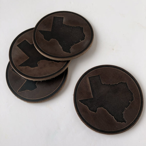 leather texas coasters on barquegifts.com